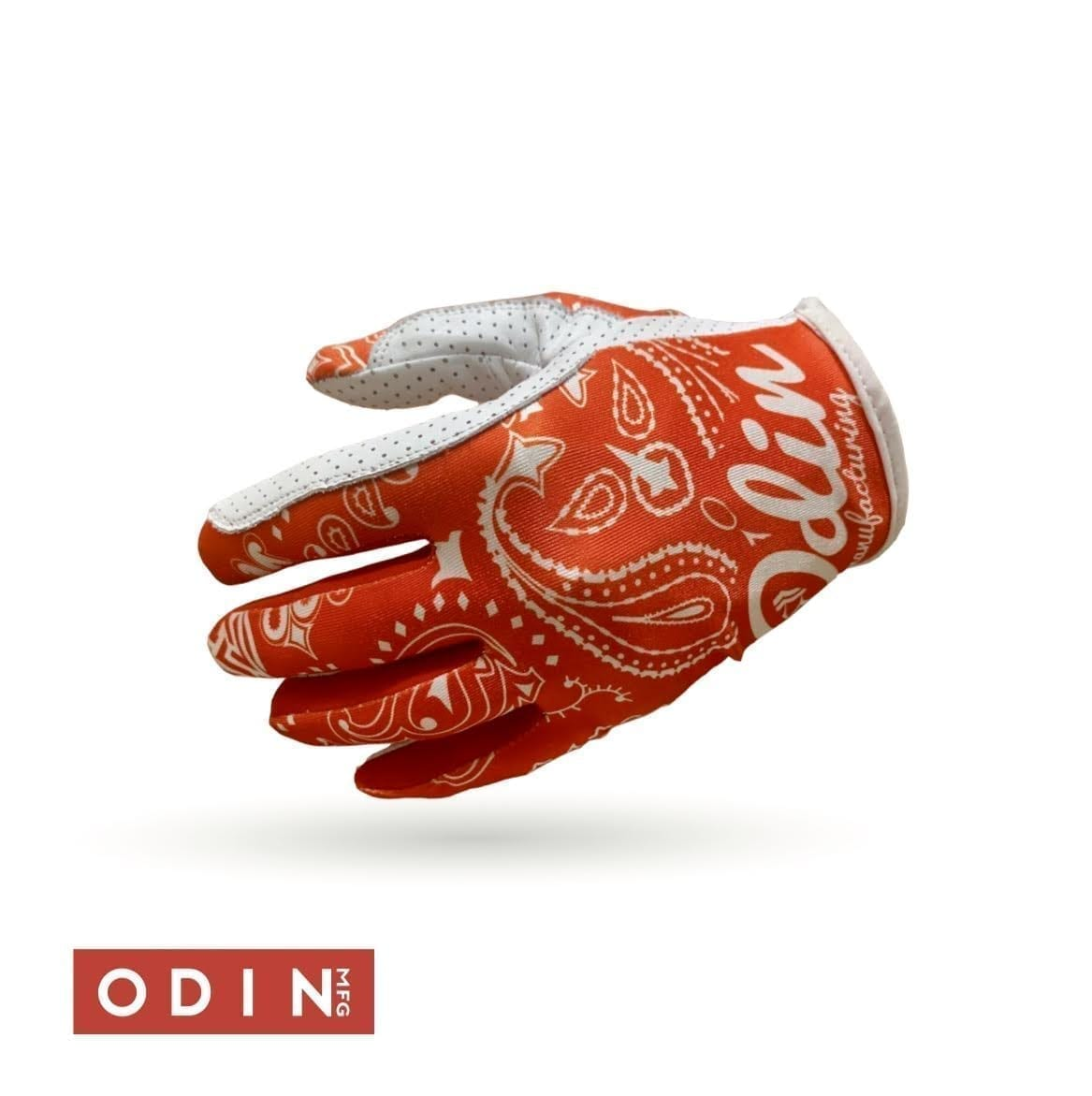 Odin Mfg Paisley red bandana gloves